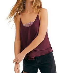 Free People New Turn It On Sequin Satin Cami